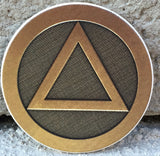 Circle Triangle AA Logo Medallion Auto Car Coaster Absorbent Stone RecoveryChip Design - RecoveryChip