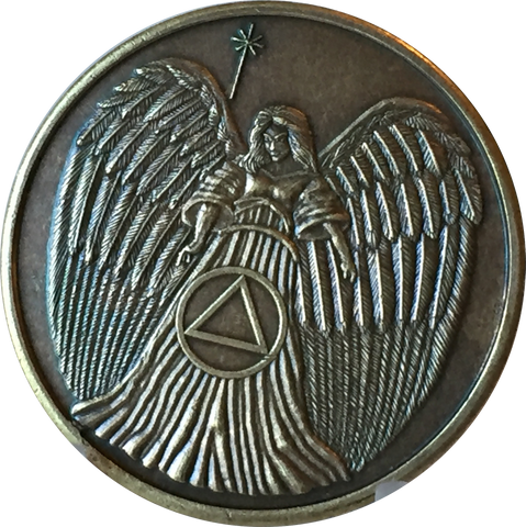 Guardian Angel Bronze Circle Triangle AA Medallion Pocket Token BSP - RecoveryChip