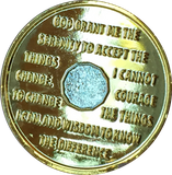 24 Hours Bi-Plate Gold & Nickel Plated AA Medallion Sobriety Chip With Serenity Prayer BSP - RecoveryChip