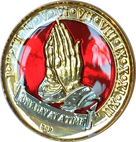 One Day At A Time Praying Hands Mandarin Red & Gold Plated Nickel Tri-Plated AA Alcoholics Anonymous Medallion Sobriety Chip Years 1 2 3 4 5 6 7 8 9 10 11 12 Year 1-12 BSP - RecoveryChip