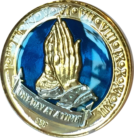 One Day At A Time Praying Hands Midnight Blue & Gold Plated Nickel Tri-Plated AA Alcoholics Anonymous Medallion Sobriety Chip Years 1 2 3 4 5 6 7 8 9 10 11 12 Year 1-12 BSP - RecoveryChip