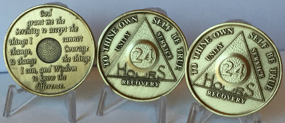 Bulk Lot of 3 Bronze 24 Hours AA Medallions Serenity Prayer Sobriety Chips - RecoveryChip