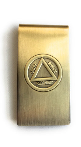 Circle Triangle Unity Service Recovery AA Logo Brass Sobriety Money Clip - RecoveryChip