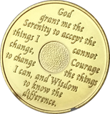 24 Hours AA Medallion Blue & 24k Gold Plated Alcoholics Anonymous Chip with Serenity Prayer