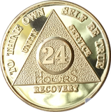24 Hours AA Medallion 24k Gold Plated Alcoholics Anonymous Chip with Serenity Prayer - RecoveryChip