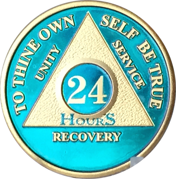 24 Hours AA Medallion Blue & 24k Gold Plated Alcoholics Anonymous Chip with Serenity Prayer - RecoveryChip