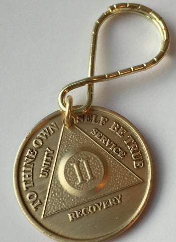 AA Alcoholics Anonymous 2 Year Anniversary Medallion Chip Key Chain Keytag Keychain Tag - RecoveryChip