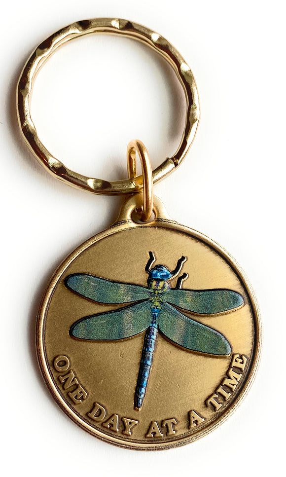Green Dragonfly One Day At A Time Keychain With Serenity Prayer