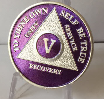 Purple Silver Plated AA Alcoholics Anonymous Medallion Chip Year 1 - 65 All Years Available - RecoveryChip