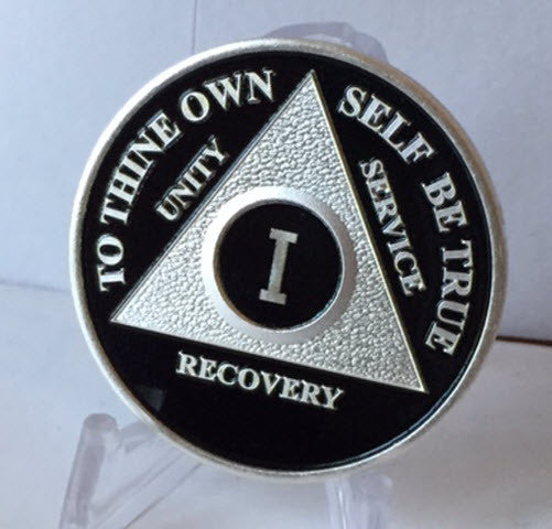 Black Silver Plated AA Alcoholics Anonymous Medallion Sobriety Chip Any Year 1 - 65 - RecoveryChip