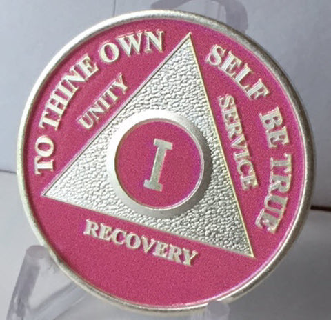 Pink Silver Plated AA Alcoholics Anonymous Medallion Chip Year 1 - 65 - RecoveryChip