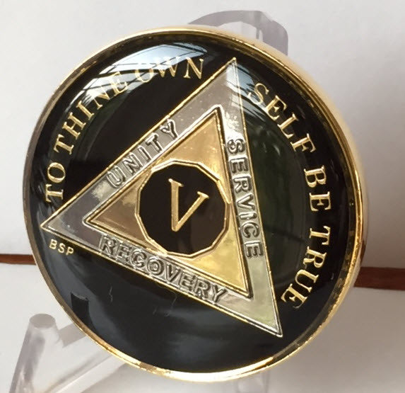 Classic Black AA Alcoholics Anonymous Medallion Chip Tri-Plate Gold & Nickel Plated Year 1-30 Years BSP - RecoveryChip