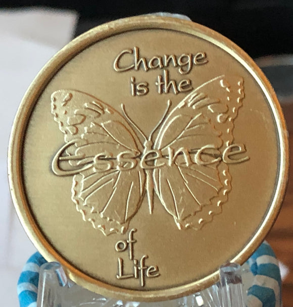 Change Is The Essence Of Life Bronze Butterfly If Nothing Changed Medallion Chip - RecoveryChip