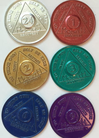 Set of 6 Aluminum Colored AA Alcoholics Anonymous Medallions Months 1 2 3 6 9 and 24 Hours Chips - RecoveryChip