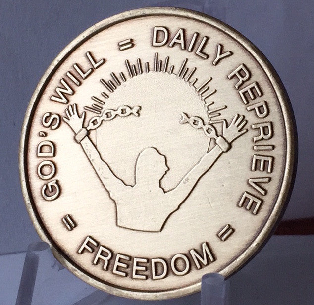 Bulk Lot 25 Units - God's Will = Daily Reprieve = Freedom - AA Alcoholics Anonymous Spiritual Condition Bronze Sobriety Medallion RecoveryChip Design - RecoveryChip