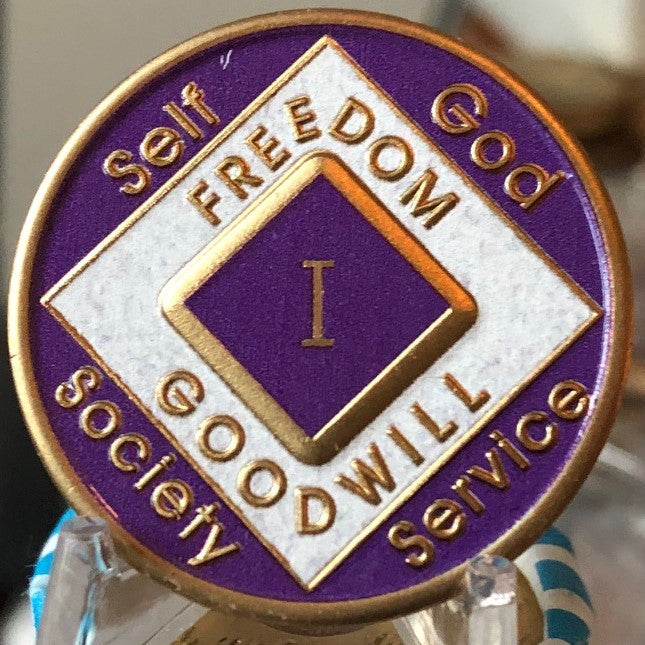 Offical NA Triplate Purple & White Color Narcotics Anonymous Medallion 18 Month Year 1 - 50 - RecoveryChip