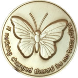 Butterfly If Nothing Changed There'd Be No Butterflies Bronze Sobriety Medallion Chip Pocket Token With Serenity Prayer RecoveryChip Design - RecoveryChip
