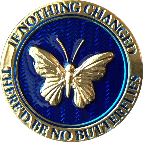 Butterfly If Nothing Changed There'd Be No Butterflies Reflex Blue Gold Plated Medallion