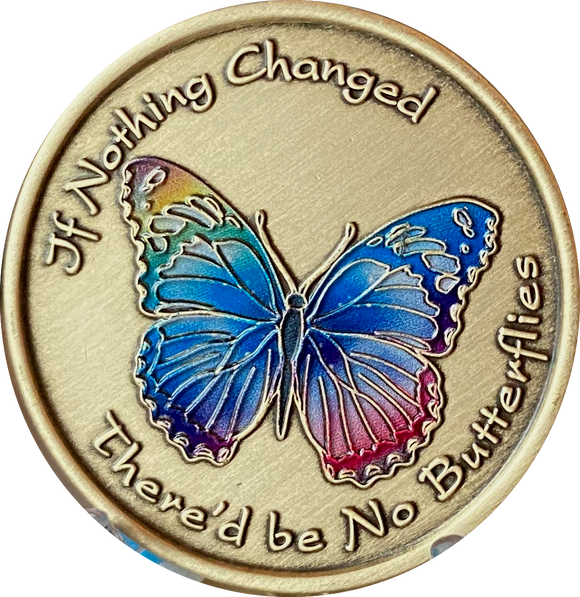 If Nothing Changed There'd Be No Butterflies Color Rainbow Serenity Prayer Medallion