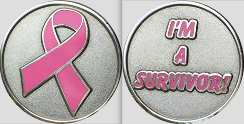 I'm A Survivor Pink Ribbon Silver Plated Medallion Breast Cancer Pocket Token RecoveryChip Design - RecoveryChip