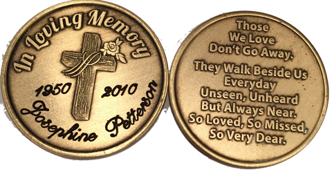 Engraved In Loving Memory Rose Cross Bronze Memorial Medallion Personalized Coin - RecoveryChip