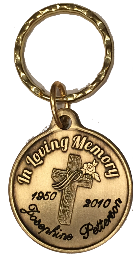 In Loving Memory Engraved Cross Rose Bronze Memorial Keychain Personalized Gift - RecoveryChip