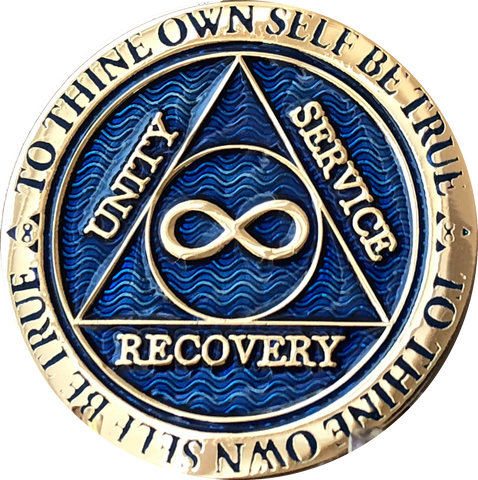 Infinity Eternal AA Medallion Reflex Blue Alcoholics Anonymous Sobriety Chip Coin - RecoveryChip