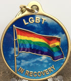 LGBT In Recovery Bronze Rainbow Flag Color Sobriety Keychain AA NA - RecoveryChip