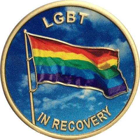 LGBT In Recovery Bronze Rainbow Flag Color Sobriety Medallion AA NA - RecoveryChip