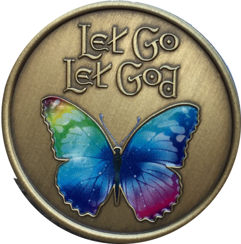 Let Go Let God Color Butterfly Bronze Serenity Prayer Medallion Chip - RecoveryChip