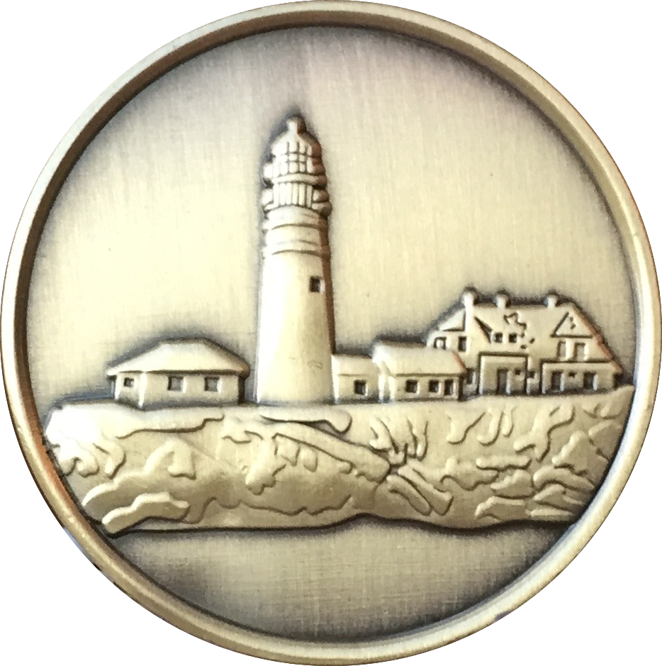 Fog Light Prayer Lighthouse Antique Bronze Medallion AA NA Chip - RecoveryChip
