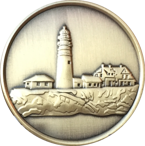Fog Light Prayer Lighthouse Antique Bronze Medallion AA NA Chip