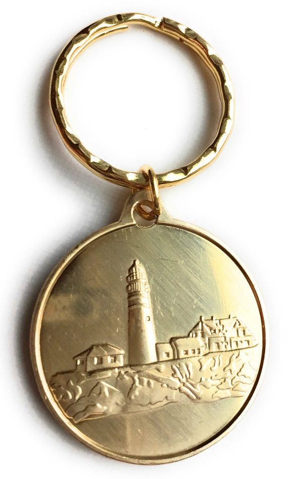Fog Light Prayer Light House Keychain Clean Glossy Bronze - RecoveryChip