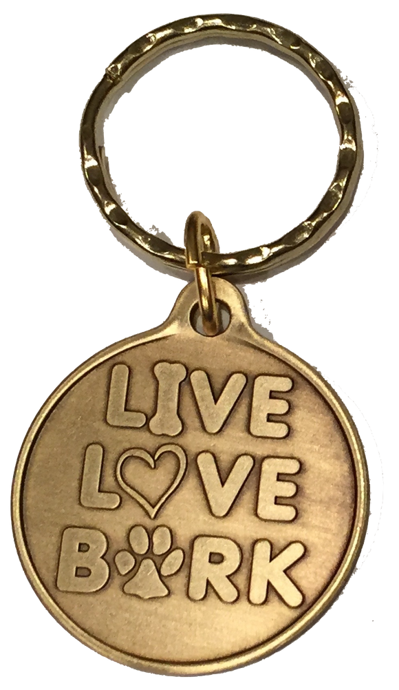 Live Love Bark Dog Bone Pet Heart Bronze Keychain Paw Print Design - RecoveryChip