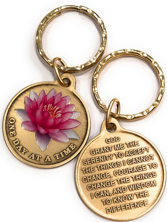 Pink Lotus Flower One Day At A Time Keychain With Serenity Prayer - RecoveryChip