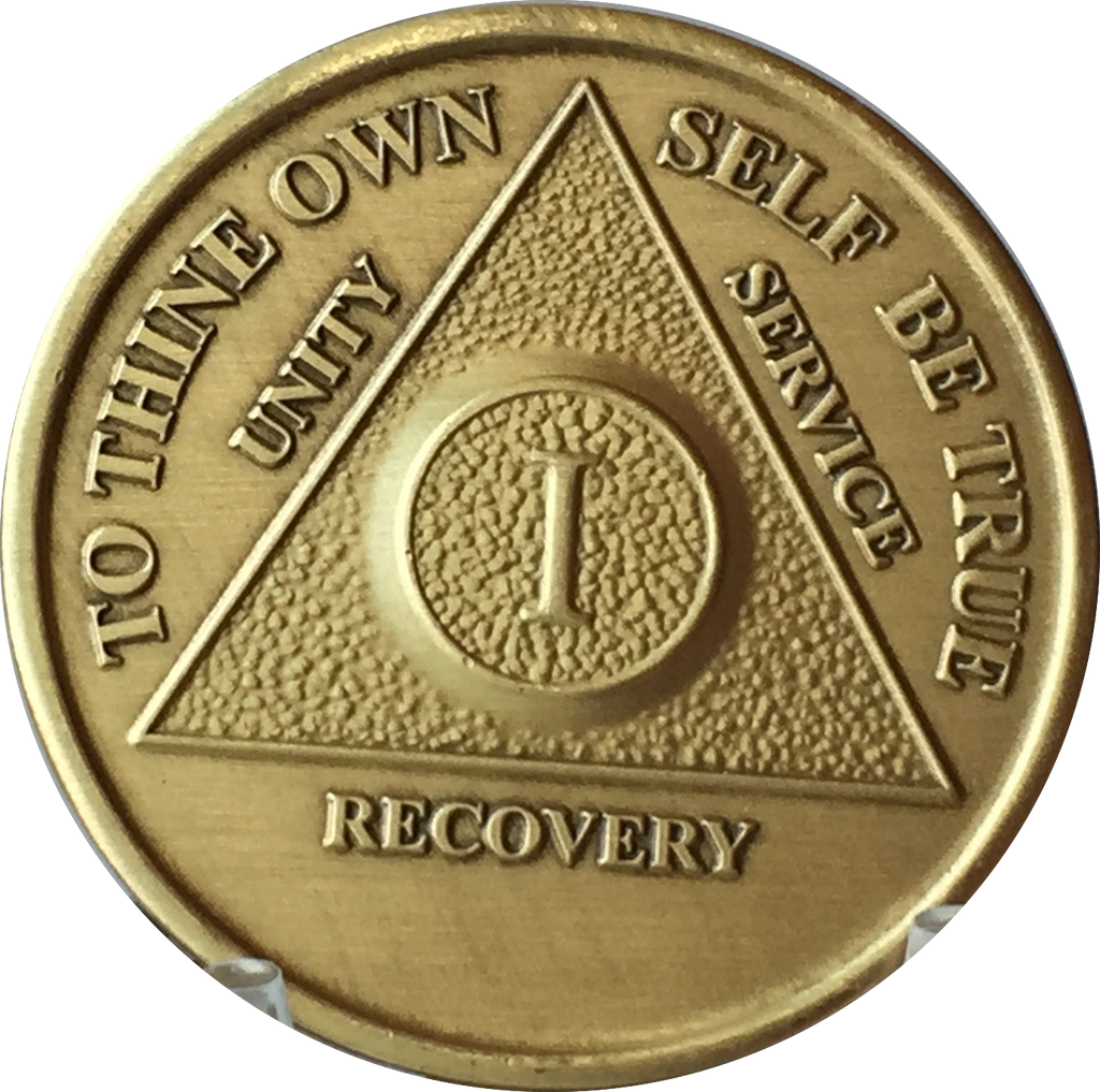 AA Medallion Year 1 - 65  Bronze Sobriety Chip Alcoholics Anonymous Coin - RecoveryChip