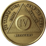 AA Medallion Year 1 - 65  Bronze Sobriety Chip Alcoholics Anonymous Coin