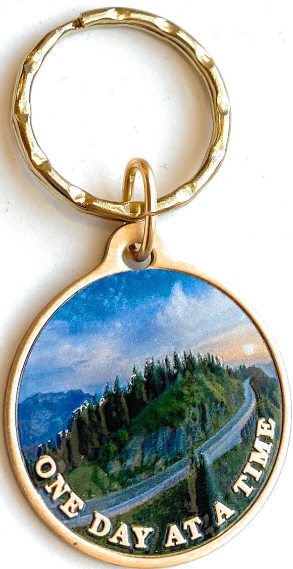 Mountain Winding Road One Day At A Time Keychain With Serenity Prayer