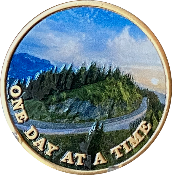 Mountain Winding Road One Day At A Time Medallion With Serenity Prayer
