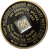 Offical NA Triplate Black and Silver Glitter Color Narcotics Anonymous Medallion 18 Month Year 1 - 50 - RecoveryChip