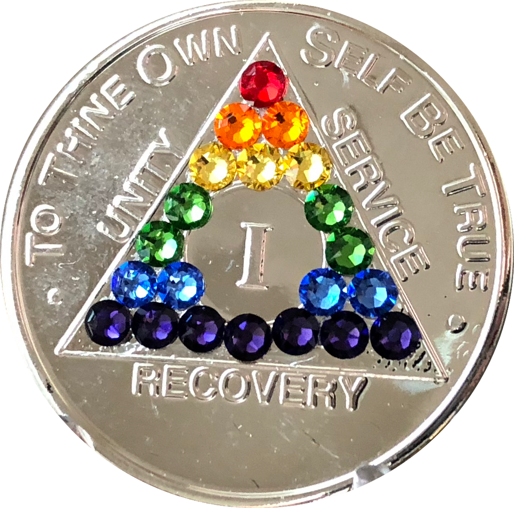 Rainbow Swarovski Crystal AA Medallion Nickel Plated Sobriety Chip Year 1 - 56 - RecoveryChip