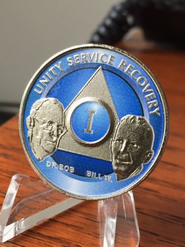 Ocean Breeze Blue Nickel Plated AA Alcoholics Anonymous Founders Medallion Chip Year 1-65 All Years Available - RecoveryChip