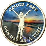 Opioid Free One Day At A Time Medallion Girl On Beach Sunrise Chip - RecoveryChip