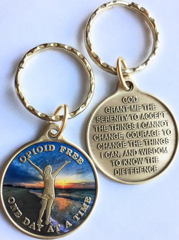 Opioid Free One Day At A Time Keychain Girl On Beach Sunrise - RecoveryChip