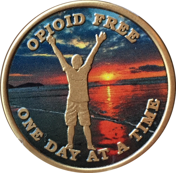 Opioid Free One Day At A Time Medallion Man On Beach Sunrise Chip - RecoveryChip