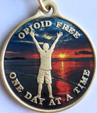 Opioid Free One Day At A Time Keychain Man On Beach Sunrise - RecoveryChip