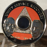 AA Founders Any Year 1 - 65 Medallion Black Orange & Nickel Plated Chip Bill W Dr Bob - RecoveryChip