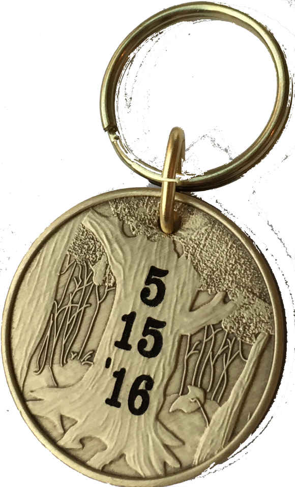 Personalized Engraved Sobriety Medallion Keychain Sober Date AA NA Bronze Recovery Gift - RecoveryChip
