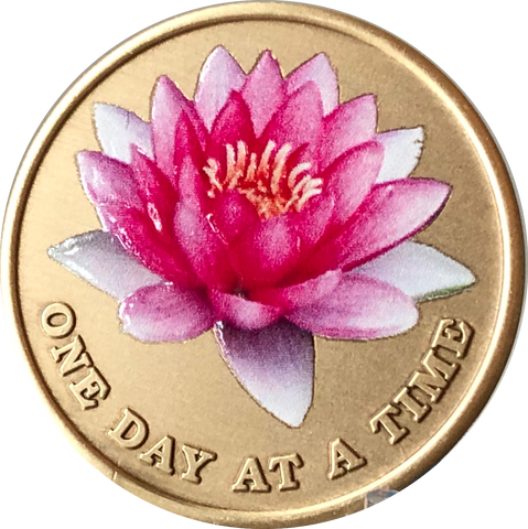 Pink Lotus Flower One Day At A Time Medallion With Serenity Prayer - RecoveryChip
