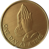Praying Hands One Day At A Time Serenity Prayer Bronze Sobriety Medallion Chip Coin - RecoveryChip